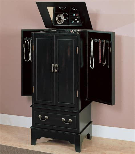 Armoire Black by Black Wood Jewelry Armoire A Sofa Furniture Outlet