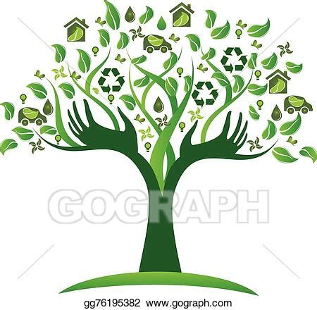 vector art ecological green tree hands logo clipart