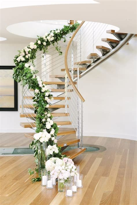 staircase garland  flowers staircases flowers