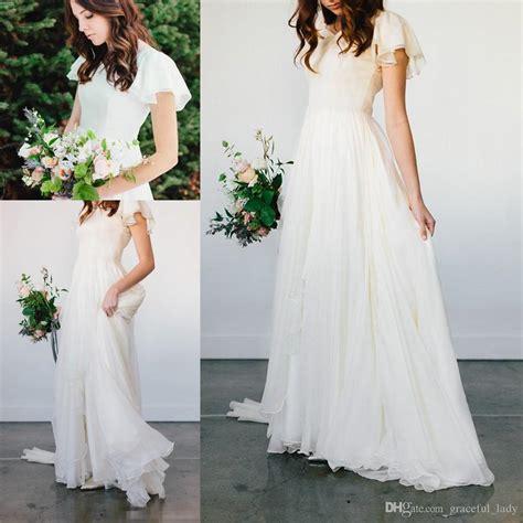 discount flowy chiffon modest wedding dresses  beach