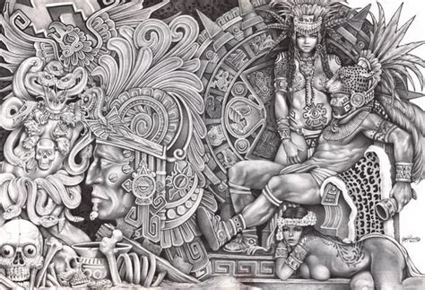 Aztec Dream by Mouse Lopez Mexican Indian Black White ...