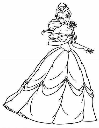 Belle Princess Coloring Holding Flower Princesses Disney
