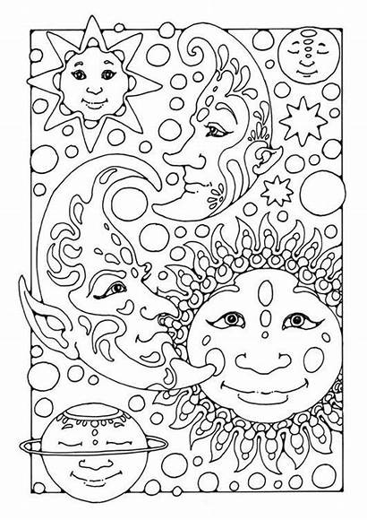 Coloring Pages Teens Moon Sun Rocks Adult