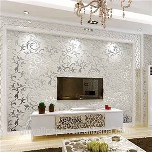 Wall Paper Design Home Decor 3d Wallpapers Silver Metallic ...