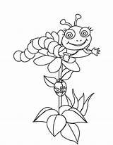 Coloring Caterpillar Say Flowers Hi sketch template