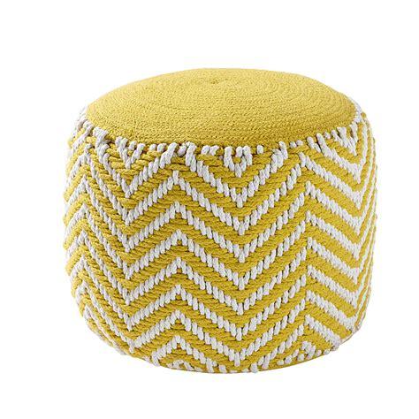 couleur de chambre pour ado fille pouf rond tressé en coton jaune alix maisons du monde