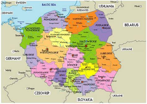 poland large political map  poland polska poland