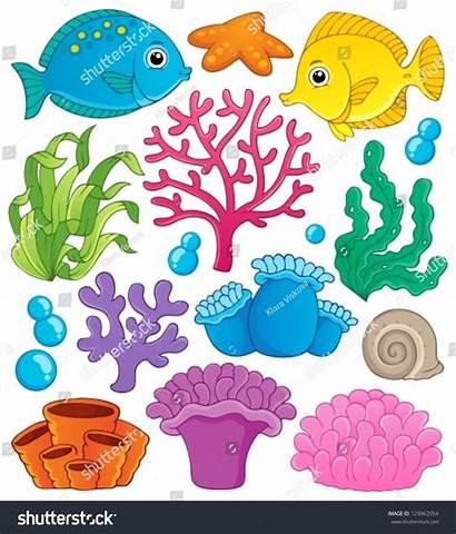 Coral Reef Illustration Vector Theme Cartoon Sea