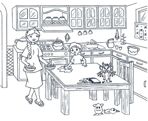 coloring pages kitchen  coloring pages