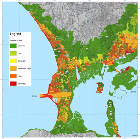 risk map  kuta bali highlighting  areas  red