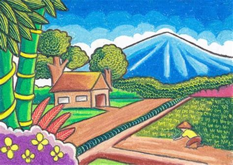 gambar pedesaan crayon pemandanganoce