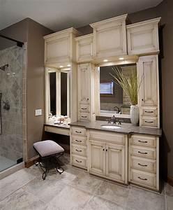 Custom Bathroom Vanities With Makeup Area - WoodWorking