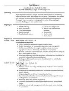 walmart stocker resume sle overnight stocker resume sle resume format