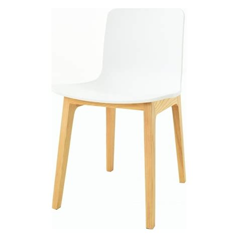 white plastic dining chair with light wood legs from