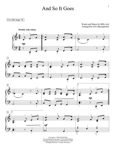 and so it goes sheet music by eric baumgartner