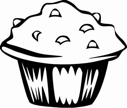 Muffin Blueberry Clip Coloring Svg Clipart Bw