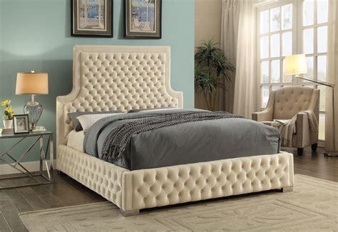 sedona upholstered bed  cream velvet fabric woptions