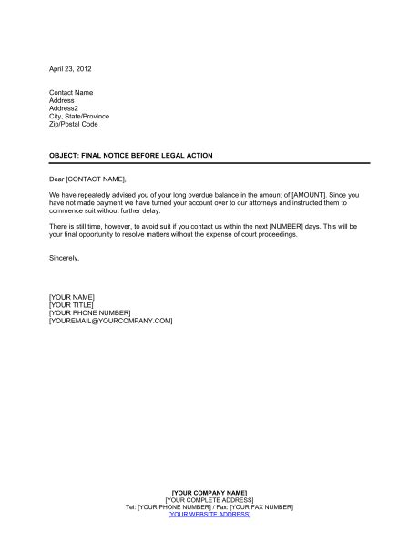 Final Notice Before Legal Action - Template & Sample Form