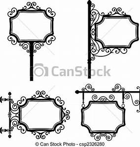 Vintage signs Black and white wrought iron vintage signs