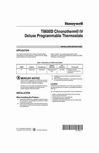 Honeywell Chronotherm Iv T8600d User Manual
