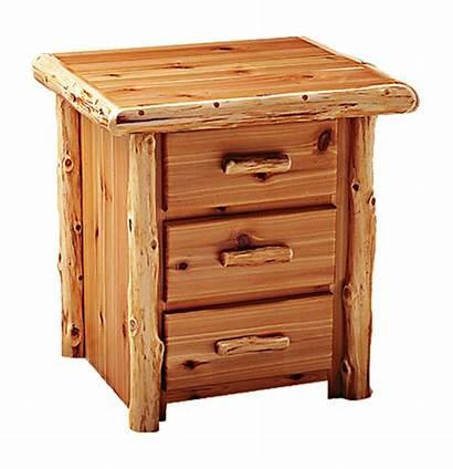 Log Nightstand Cedar Drawer Furniture Rustic Nightstands