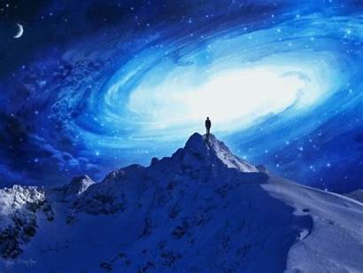 Mountain Fantasy Giphy Sky Animated Trippy Stars
