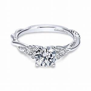 Catalina 14k white gold round twisted engagement ring for Wedding ring companies