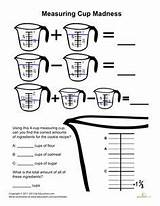 Measuring Cups Worksheets Fractions Worksheet Madness Cooking Kitchen Activities Culinary Teaching Education Cup Measurement Grade Printable Math 3rd Baking Coloring sketch template