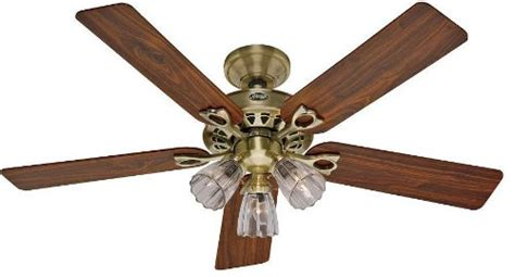 Douglas Ceiling Fan Replacement Globes 22435 Sontera Three Light 52 Inch Five Blade Ceiling Fan Antique Brass With Clear Globes
