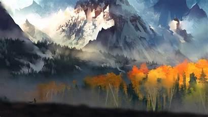 Fantasy Forest Autumn Mountains Trees 4k 1080p