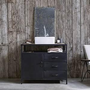 Meuble En Manguier : meuble simple vasque en mtal noir et manguier pour salle de bain tikamoon ~ Teatrodelosmanantiales.com Idées de Décoration
