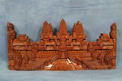 vintage  wooden angkor wat plaque carving temple