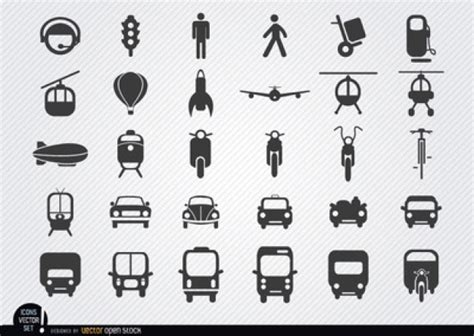 Outlined Vehicle Icons Vector Vector