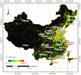 Locations of the 32 major cities in mainland China, with ...