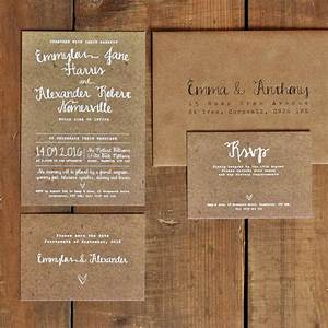white calligraphy kraft effect rustic wedding invitation With wedding invitations sets australia
