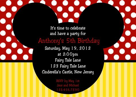 Mickey Mouse Invitations Template by Invitation Mickey Mouse Ears Personalized Custom