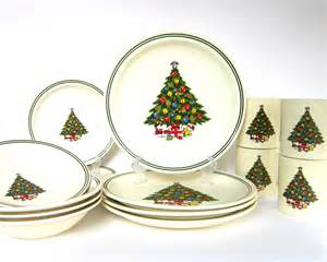 xmas sale vintage christmas tree dinnerware set by cedarrunvintage