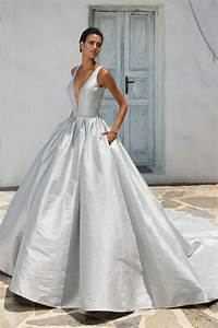 style 8970 silk dupion ball gown with plunging v neckline With justin alexander silk wedding dress