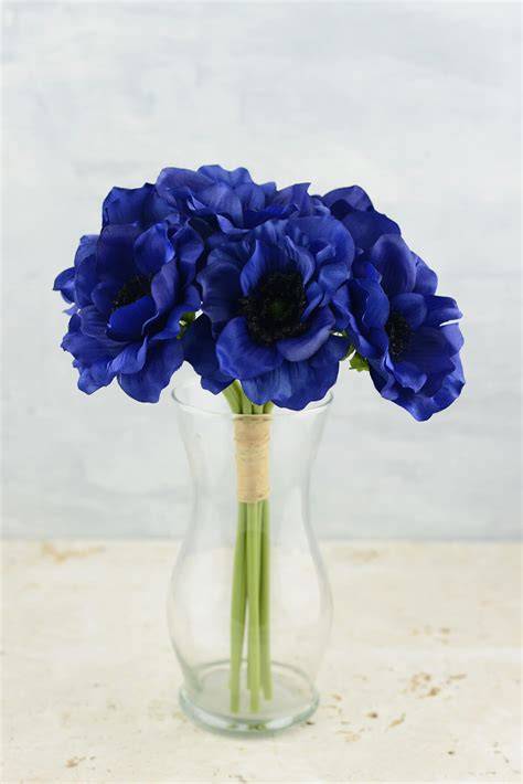 anemone faux flower bundle  navy blue  tall