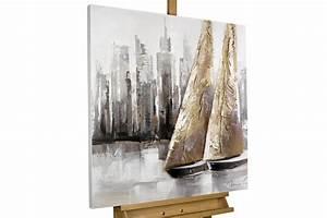 Gemälde Für Wohnzimmer : kl00072 zwei segelboote modern acryl gemaelde ~ Markanthonyermac.com Haus und Dekorationen