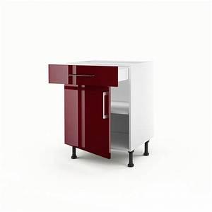 Meuble De Cuisine Bas : meuble de cuisine bas rouge 1 porte 1 tiroir griotte h ~ Melissatoandfro.com Idées de Décoration
