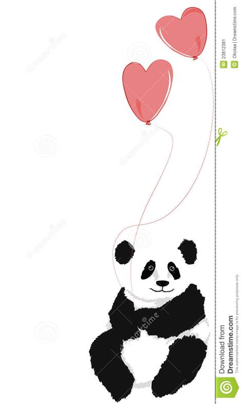 panda sitting   heart balloons stock image image