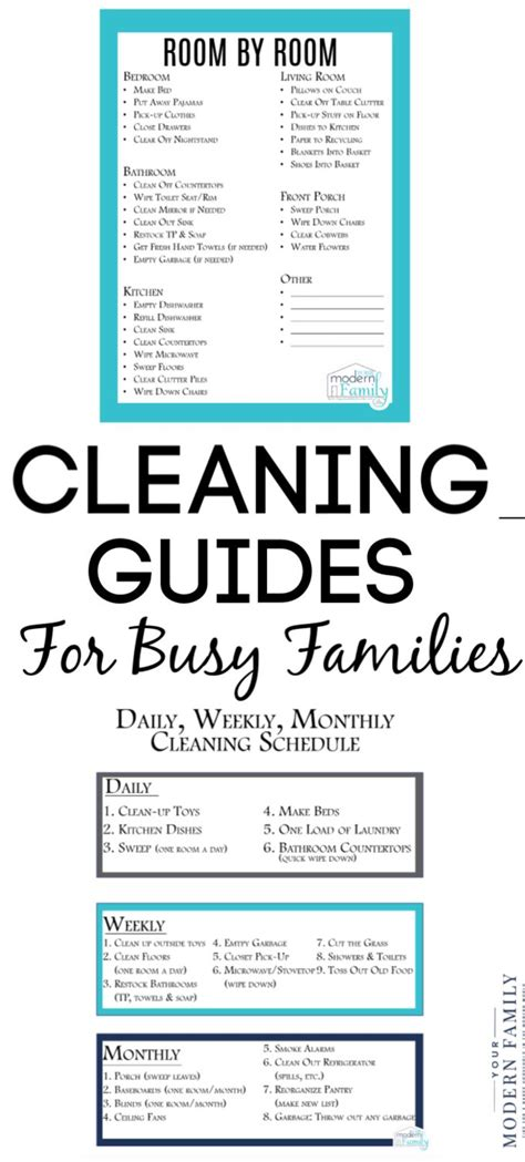 daily weekly monthly cleaning list  kids