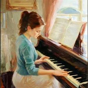 Playing piano girl oil painting | painting | Pinterest ...