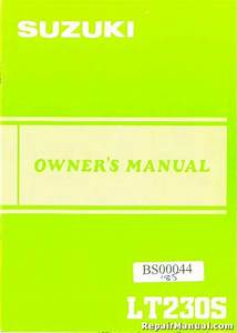 Suzuki 1985 Lt230s Atv Owners Manual