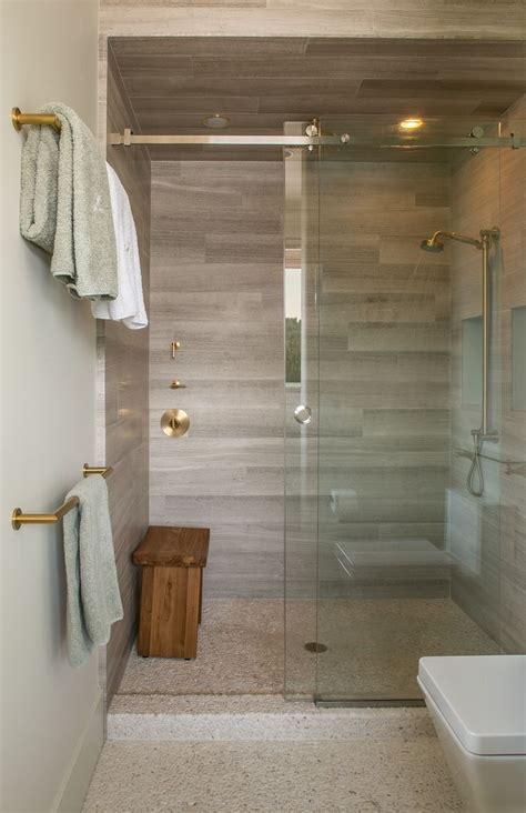 guest bathroom shower  ashen gray limestone tiles