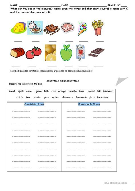 countable and uncountable activity worksheet free esl