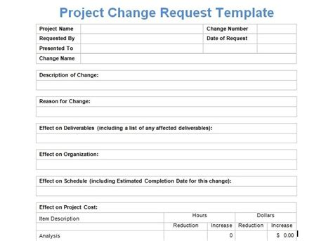 project change request template exceltemple change