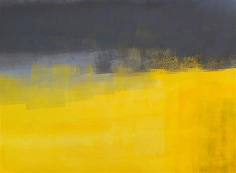 grey yellow acrylic abstract art painting yellow and grey modern