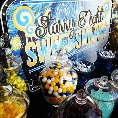 starry night themed prom party candy station candy